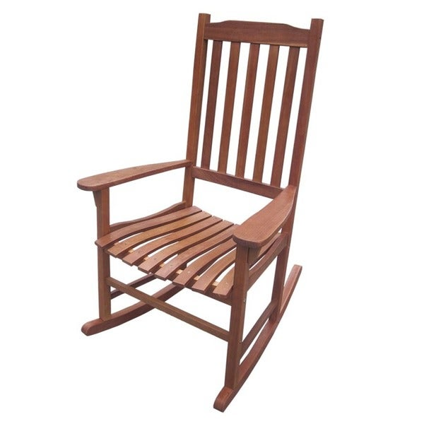Merry Products Traditional Acacia Hardwood Rocking Chair   Free Shipping  Today   Overstock.com   15684990