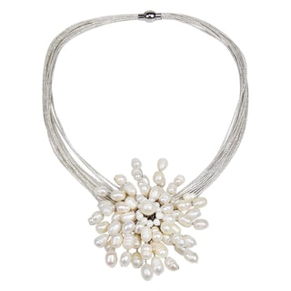 Royal Chrysanthemum White Pearl 2 In 1 Pin and Necklace (Thailand)
