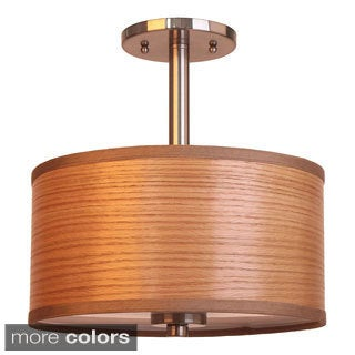 3-light Single Shade Satin Nickel Semi-flush Mount