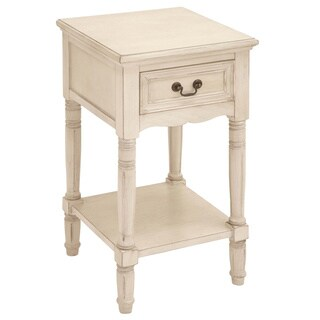 Casa Cortes Antiqued White Solid Wood Night Stand