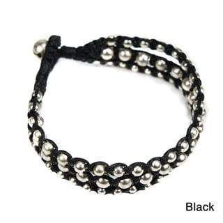 Handmade Triple Strand Galore Silver Beads Cotton Rope Bracelet (Thailand)