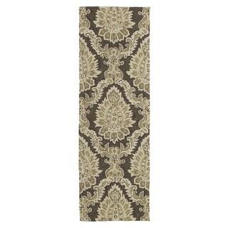 Indoor/ Outdoor Fiesta Chocolate Damask Rug (2' x 6')