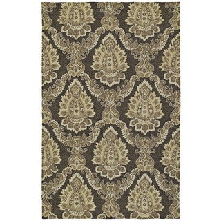 Indoor/ Outdoor Fiesta Chocolate Damask Rug (5' x 7'6)