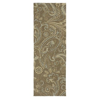 Indoor/ Outdoor Fiesta Brown Paisley Rug (2' x 6')