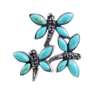 Turquoise Dragonfly .925 Silver Marcasite Slide Pendant (Thailand)