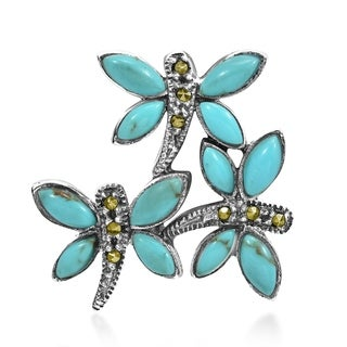 Handmade Turquoise Dragonfly .925 Silver Marcasite Pendant (Thailand)