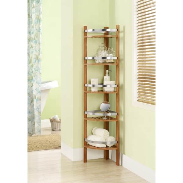 Bamboo Bathroom Shelves Corner Tower