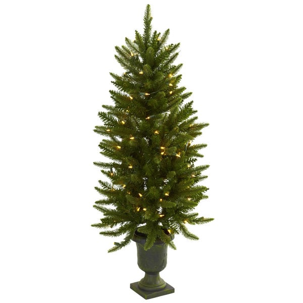 4 foot christmas tree with urn and clear lights - Christmas Tree With Lights