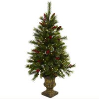 4-foot Berries, Pine Cones, LED Lights and Decorative Urn Christmas Tree