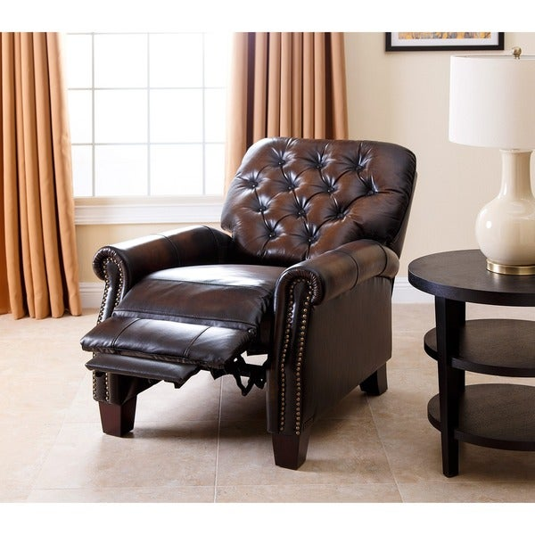 Abbyson Camden Hand Rubbed Leather Pushback Recliner - Free Shipping Today - Overstock.com - 15685274 & Abbyson Camden Hand Rubbed Leather Pushback Recliner - Free ... islam-shia.org