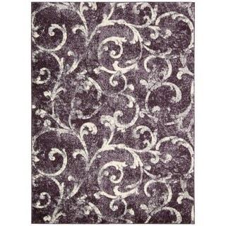 kathy ireland Santa Barbara La Vida Buena El Pal Dark Violet Shag Area Rug (7'10 x 10'10) by Nourison