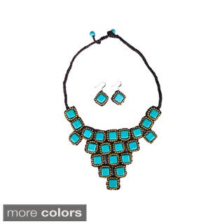 Thai-Handicraft Gold-tone Square-cut Gemstone Necklace and Earrings Set (Thailand)