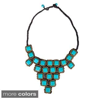 Thai-Handicraft Gold-tone Square-cut Gemstone Design Necklace (Thailand)