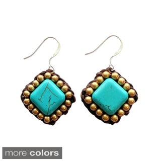 Thai-Handicraft Gold-tone Square-Cut Gemstone Design Earrings (Thailand)