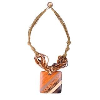 Thai-handicraft Square-Shaped Coconut Wood Bead Multi-strand Necklace (Thailand)