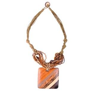 Handmade Thai-handicraft Square-Shaped Coconut Wood Bead Multi-strand Necklace (Thailand)