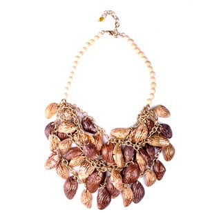 Thai-handicraft Gold-tone Coconut Wood and Resin Bead Necklace (Thailand)