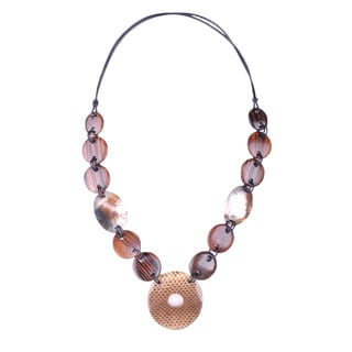 Leather Cord Snakeskin Design Coconut Wood, Resin and Seashell Necklace (Thailand)