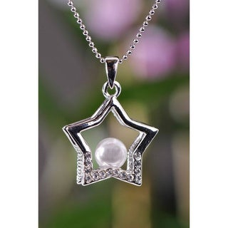 Handmade Silvertone Faux Pearl and Clear Crystal Star Necklace (Thailand)