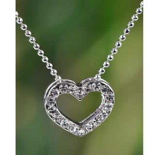 Handmade Silvertone Clear Crystal Heart Necklace (Thailand)