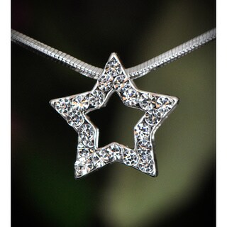 Silvetone Clear Crystal Star Necklace (Thailand)