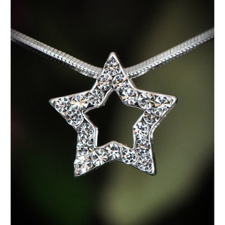 Silvetone Clear Crystal Star Necklace (Thailand)