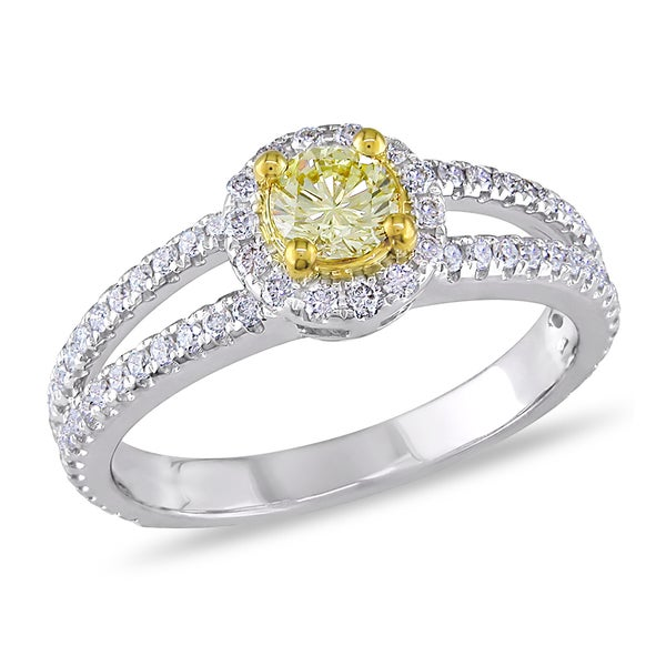 Miadora Signature Collection 14k Gold 1ct TDW Yellow and White Diamond Ring