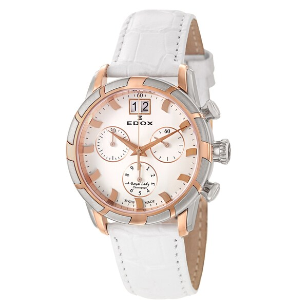 Edox Women's 'Royal Lady' Rose Gold PVD-coated Steel Chronograph Watch