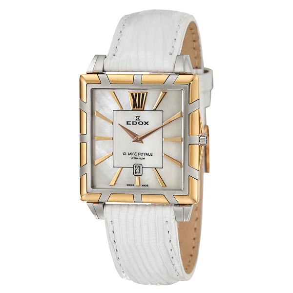 Edox Women's 'Classe Royale' Steel and Rose Gold PVD-coated Watch