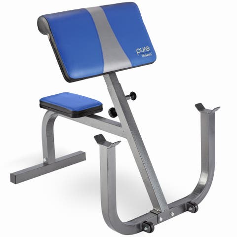 Pure Fitness Preacher Curl Weight Bench with Wheels - Blue/Black