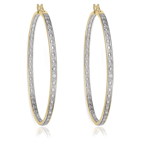 Sterling Silver Diamond Accent Hoop Earrings by Finesque
