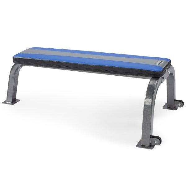 Pure Fitness Flat Bench Workout Bench Weight Bench with Wheels - Blue/Black