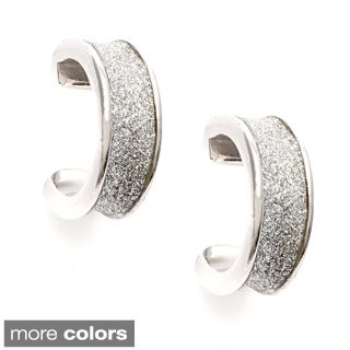 La Preciosa Sterling Silver Sparkle Cuff Earrings