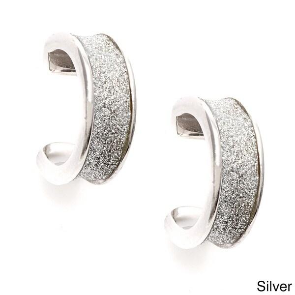 La Preciosa Sterling Silver Sparkle Cuff Earrings
