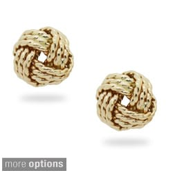 Gioelli 14k Gold Braided Love Knot Stud Earrings