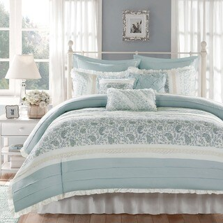 Madison Park Vanessa Blue 9-piece Cotton Percale Duvet Cover Set