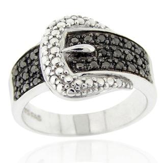 DB Designs Black Diamond Accent Buckle Ring