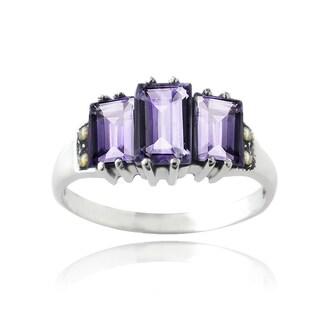 Glitzy Rocks Sterling Silver Amethyst Ring