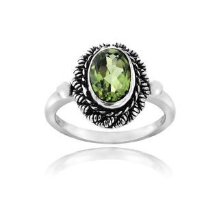 Glitzy Rocks Sterling Silver Oval Peridot Rope Ring - Green