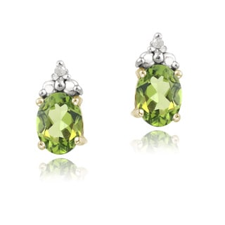 Glitzy Rocks Gold over Silver Peridot and Diamond-accent Earrings (I-J, I2-I3)