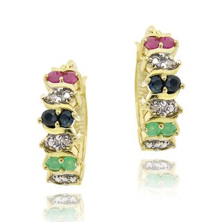 Glitzy Rocks Gold over Silver Mulit-gemstone and Diamond Earrings