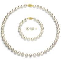 DaVonna 14k Yellow Gold 6.5-7 mm White Akoya Pearl Jewelry Set