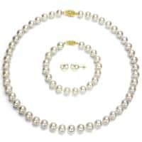 DaVonna 14k Yellow Gold Round White Akoya Pearl Jewelry Set (7-7.5 mm)