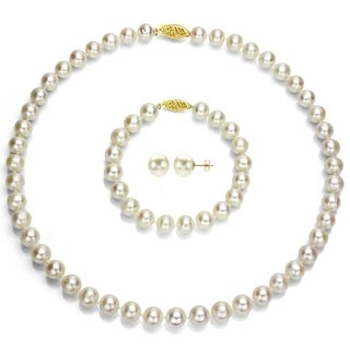 DaVonna 14k Yellow Gold Round White Akoya Pearl Jewelry Set (7-7.5 mm)