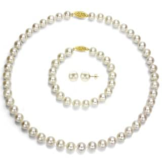 DaVonna 14k Yellow Gold White Round Akoya Pearl Jewelry Set (7.5-8 mm)|https://ak1.ostkcdn.com/images/products/8381708/DaVonna-14k-Yellow-Gold-White-Round-Akoya-Pearl-Jewelry-Set-7.5-8-mm-P15685741.jpg?impolicy=medium