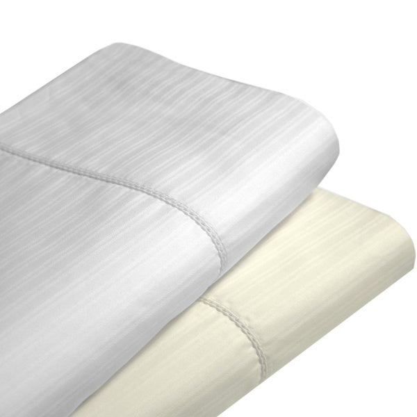 Dobby Stripe Cotton 475 Thread Count Hemstitched Pillowcase (Set of 2)