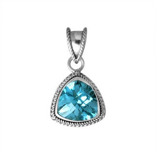 Sterling Silver Bali Faceted Trillion Gemstone Rope Bezel Pendant (Indonesia)
