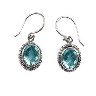 Sterling Silver Bali Faceted Oval Blue Topaz Dangle Earrings (Indonesia)