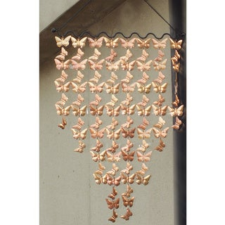 Copper Cascading Butterflies Wind Chime On Black Ripple Rod 42-Inch x 24-Inch