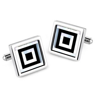 Crucible Black-plated Stainless Steel Mother of Pearl Inlay Cuff Links